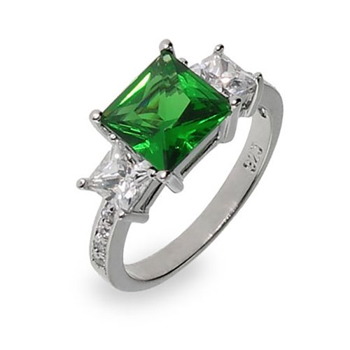 Sterling-Silver-Deep-Green-CZ-Three-Simulated-Stone-Ring