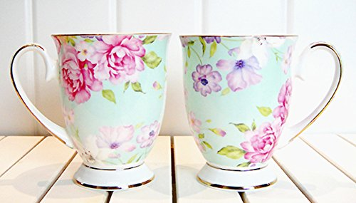 Moyishi Royal 300ml Pink Rose Chintz Porcelain Footed Mug Assorted with Gold Trim 1 PC Christmas Birthday Best Gift