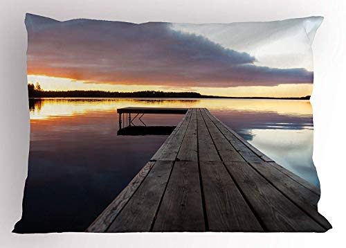 (lsrIYzy Landscape Pillow Sham, Sunset Over an Old Oak Deck Pier and Calm Water of The Lake Horizon Serenity, Decorative Standard Queen Size Printed Pillowcase, 30 X 20 inches, Multicolor)