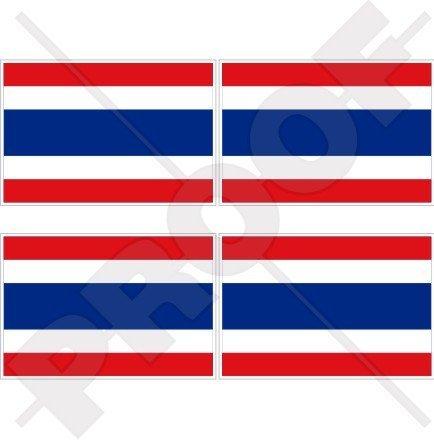 "THAILAND Flag, Thai SIAM Siamese 2"" (50mm) Vinyl Bumper-Helmet Stickers, Decals x4"