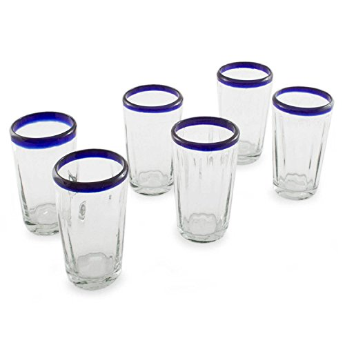 NOVICA Hand Blown Clear Blue Recycled 203997″Cobalt Groove Tumbler, Set of 6 Review