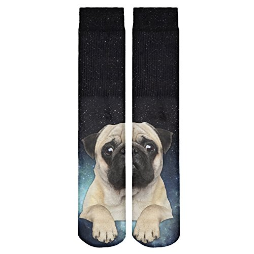 Fringoo Men's Tomboy Socks All Over Printed Emoji Tube Sox High Hip Hop Fashion One Size Fits UK 5-9 (38-43) Galaxy Pug by Fringoo