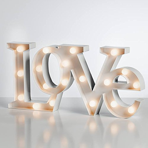 Torre & Tagus 960093 Marquee LED Lighted Metal Sign - Love,White