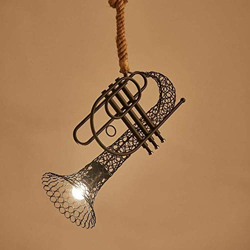 LUCY STORE Enjoyment Vintage Hemp Rope Creative Personality Metal Iron Art Saxophone Shape Lampshade Branch Shape Restaurant Bar Cafe Edison Lighting Ceiling Light Pendant Light Luxury