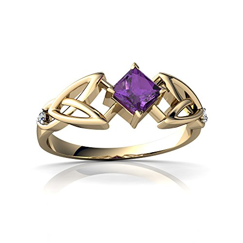 14kt Yellow Gold Amethyst and Diamond 4mm Square Celtic Trinity Knot Ring - Size 4.5 (Ring Diamond Trinity Knot 14kt)