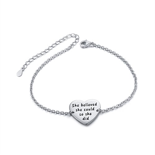 "- Sterling Silver Engraved Inspirational Adjustable Bracelet ""She Believed She Could So She Did"" Gift for Her, Women, Friendship (Style 2 White Gold Plated)"