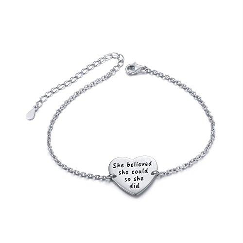 - Sterling Silver Engraved Inspirational Adjustable Bracelet