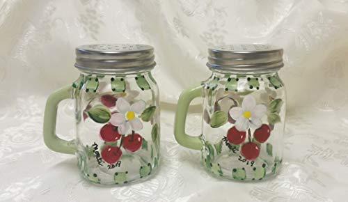 Cherries Hand Painted Glass Mason Jar Salt and Pepper Shakers ()