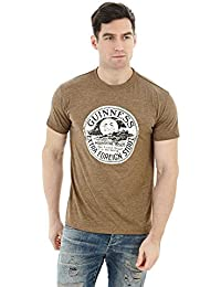 Guinness Moonshine T-Shirt - Cotton Distressed Graphic Brown Short Sleeve Tee