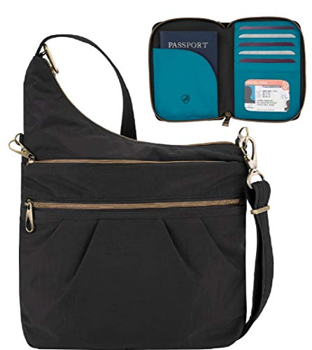 Travelon Anti-Theft Signature 3 Compartment Travel Cross Body Shoulder Bag with Matching RFID Blocking Zip Around Passport Travel Wallet, Black