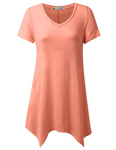 URBANCLEO Womens Short Sleeve V-Neck Tunic Top Long - Peach Tunic Top