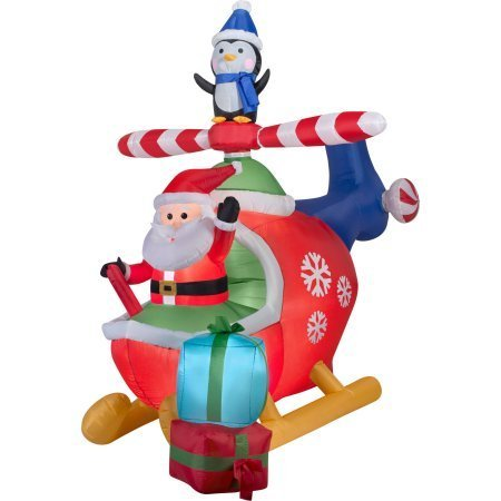 Inflatable Airblown 8 Foot (Airblown Inflatable-8FT Santa and Penguin in Helicopter Scene-Christmas Inflatable by Gemmy)