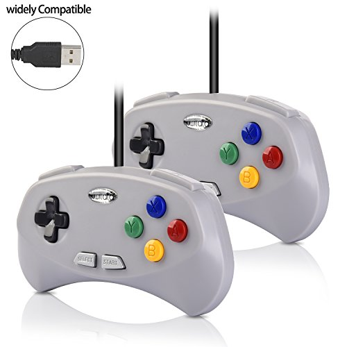 (2 Pack Retro SNES Classic USB Controller Gamepad,kiwitatá SNES USB PC Wired Controller Joypad for PC Mac Raspberry Pi 3(2018 New Version))