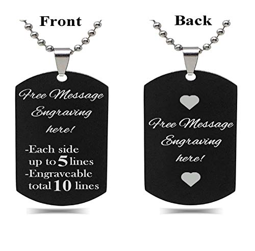 Interway Trading Personalized Small Size Custom Message Engraved Stainless Steel Necklace Dog Tag Pendant with 24 inch Chain,Velvet Giftpouch and Keyring (Rectangular Black) ()