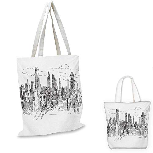 New York thin shopping bag Hand Drawn NYC Cityscape Tourism Travel Industrial Center Town Modern City Design canvas tote bagGrey White. 13