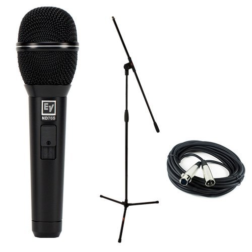 Electro-Voice ND76S Dynamic Cardioid Vocal Microphone with Mute/Unmute Switch with Microphone Essentials Accessories Kit by Electro-Voice