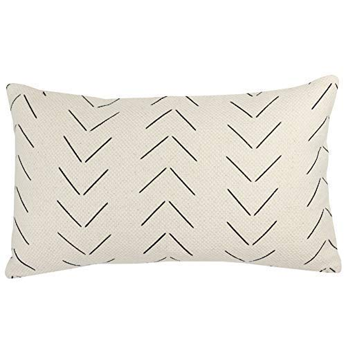 Woven Nook Decorative Lumbar Throw Pillow Cover ONLY for Couch, Sofa, or Bed 12 x 20 inch Modern Quality Design 100% Thick Woven Cotton Mudcloth MAZA (Design Pillow Cover)