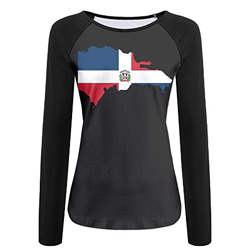 Dominican Republic Map Flag Autumn Custom Stylish Women's Long Sleeve T-Shirts | Raglan (Spring Coloring Pages To Print)