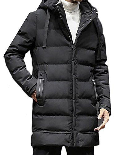 Black Hooded Outerwear Coat Zip Parka Fulok Thick Full Quilted Warm Mens q1vE71