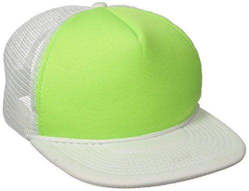 (DECKY Flat Bill Neon Trucker Cap, White/Green)