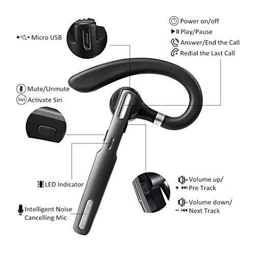 ICOMTOFIT Bluetooth Headset, Wireless Bluetooth Earpiece V4.1Hands-Free Earphones with Noise Cancellation Mic for Driving Business Office, Compatible with iPhone and Android Gray