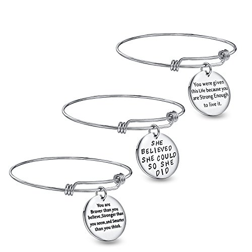 Wanmei 3pcs Wire Bangle Stainless Steel Expendable Charm Bracelet, Engraved Message Motivational Inspirational Words Round Charm Pendant Adjustable Bracelet Set, Best Gift Women