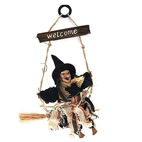Nuxn Halloween Chain Hanging Ghost Decorations Scary Sitting Witch Ghost Hanging Party Decoration Wooden Halloween Hanging Props Welcome Sign Ornament Animated Witch Wall Door Hanger