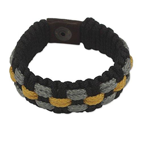 NOVICA Brass Men's Wristband Bracelet, 8.75'' 'Black Beauty' by NOVICA