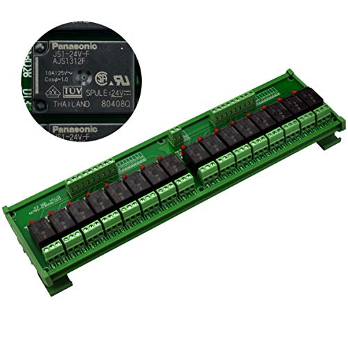 (Electronics-Salon DIN Rail Mount 16 SPDT 10Amp Power Relay Interface Module, DC 24V Version.)