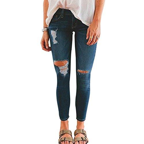 Stretch Slim Haute Collant Printemps Automne Bleu Jeans Dihope Leggings Vintage Pantalon Trou Taille Dchirs Denim Femme 4qUpPwTv