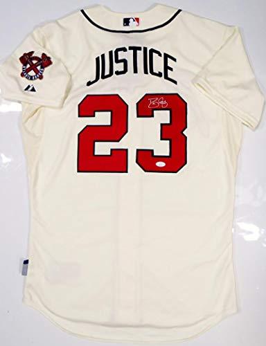 (David Justice Autographed Atlanta Braves Cream Majestic Jersey-JSA Auth)