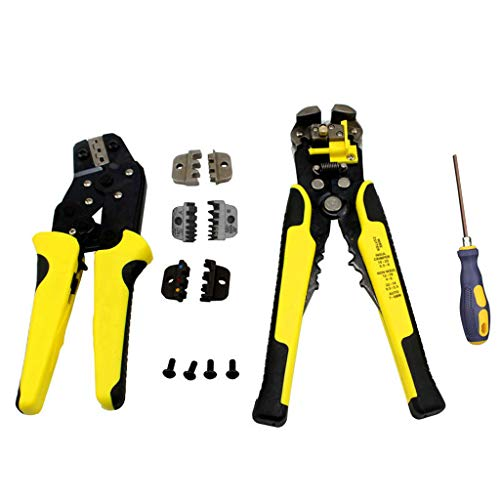 (Pjjfmcbom Crimping Tool Kit Ratchet Terminal Connector Plier Crimper,4 in 1 Interchangeable Die Sets Insulated Non-Insulated Cable Wire Hand Tool with Carry Bag (1xset, Yellow))
