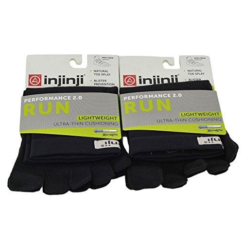Injinji Unisex Run Lightweight Ultra Thin Interface Mini Crew Toesocks Bundle, Black, ()