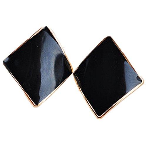 Diamond Geometric Earrings (KOREA-JIAEN 18K Rose Gold Plated Candy Colored Geometric Earring Diamond Shaped Spiral Ear Clip (Black))