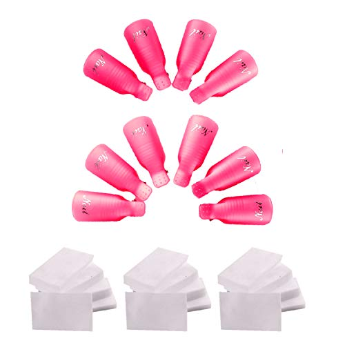 Gel NailPolishRemoverClips Suit Including 10 Plastic Finger Soap Off Caps And 3 Packs / 1200PCS Cotton Nail Wraps, Nail Art Wipes Wraps For Gel Polish Removal Manicure Tools (Rose - Remover Polish Nail Dog