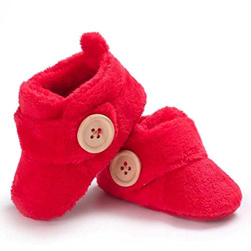 weiche Hausschuhe Wanderer Schuhe Snow cinnamou Runde Kleinkind Rot Zehe Stiefel Button Wohnungen Baby Schöne erste 1wnPq7T