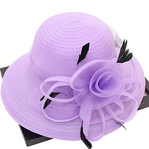 Women Church Derby Hats Organza Wide Floral Brim Flat Hat Ladies Wedding Dress Party Occasion Cap (Lavender)