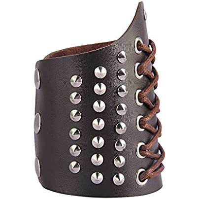 Prettyia Steampunk Arm Bracer Leather Wide Leather Wristband Arm Guards Gauntlet Cuff Medieval Bracers for Women Men Boys Estimated Price £6.00 -