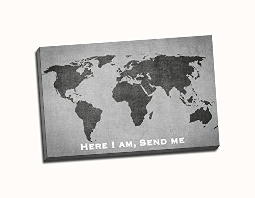 Christian Wall Art Canvas - Here I am, send me. World Map. Isaiah. Black and White, Greyscale, Faith Art, Bible Verse Canvas (20x30)
