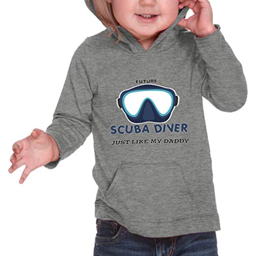Cute Rascals Future Scuba Diver Just Like My Daddy Long Sleeve Hooded Infant Boys-Girls Cotton/Polyester RawEdge Hoodie Sweatshirt - Heather Gray, 12 Months