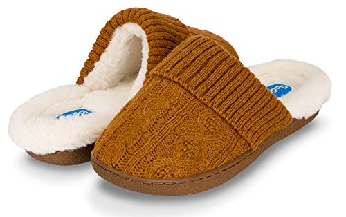 Clog Microfiber Suede (Floopi Womens Indoor Outdoor Cozy Cable Knit Fur Lined Open Back Slipper W/Memory Foam (XL, Cognac/White-313))
