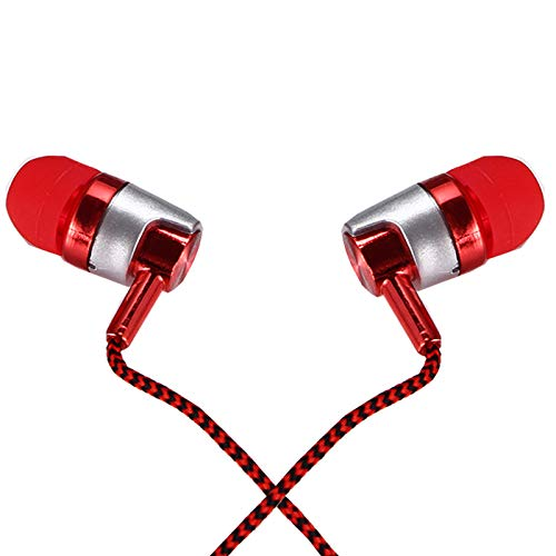 Earphones, Heavy Deep Bass Noise Isolating in-Ear Earbuds with Stereo Mic Remote, Compatible with iPad, iPod, Android Smartphones, MP3 and Devices (RED)