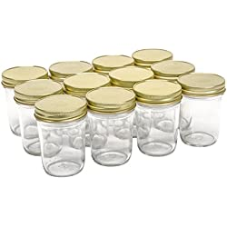 North Mountain Supply 8 Ounce Glass Regular Mouth Tapered Mason Canning Jars - With Gold Safety Button Lids - Case of 12