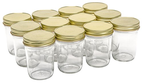 North Mountain Supply 8 Ounce Glass Regular Mouth Tapered Mason Canning Jars - With Gold Safety Button Lids - Case of 12 -