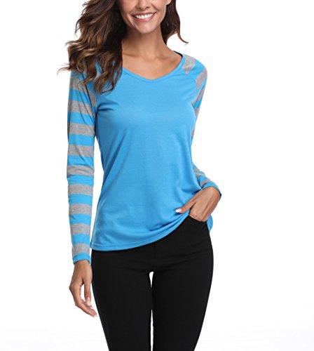 MISS MOLY Women's Long Raglan Sleeves V Neck Striped T-Shirt Tops (Lake (18 Misses Tops)