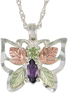 product image for Black Hills Silver Butterfly Pendant Necklace with Peridot and Amethyst