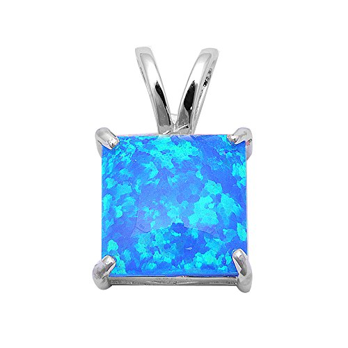 Lab Created Blue Fire Opal .925 Sterling Silver Pendant ()
