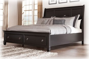 Amazoncom Black Queen Sleigh Bed by Ashley Furniture Kitchen
