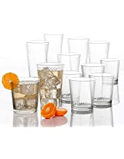 Circleware Paragon Honeycomb 12 Piece Glassware Set Highball Drinking Glasses & Whiskey Cups, Beverage Tumbler for Water, Beer, Juice, Ice Tea Bar, 6-15.75 oz & 6-12.5 oz