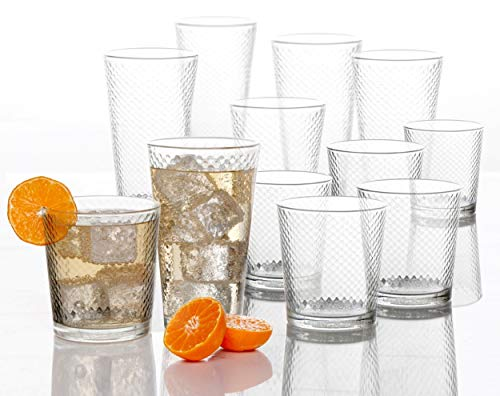 (Circleware 40148 Paragon Honeycomb 12 piece Glassware Set Highball Drinking Glasses & Whiskey Cups, Beverage Tumbler for Water, Beer, Juice, Ice Tea Bar, 6-15.75 oz & 6-12.5 oz, 12pc)